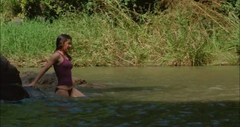 Evangeline Lilly swimming in Lost (wet t-shirt, panties)