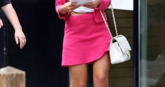 Helen Flanagan In Pink Skirt Suit