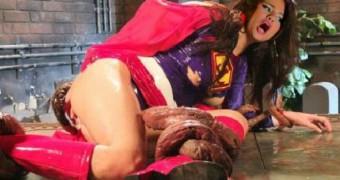 Selena Gomez as superheroine supergirl in tentacle trouble