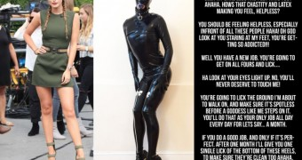 bella thorne latex cruel slave chastity captions