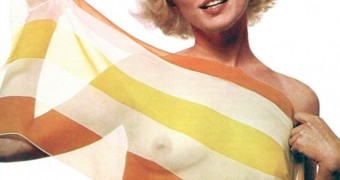 Marilyn Monroe Nude in Stripped Silk Scarf