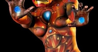 Iron Man Female Body Paint/Art Superhero