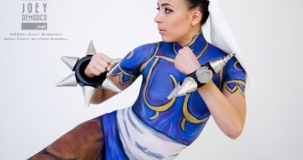 Chun Li Street Fighter Cosplay Body Art Paint