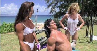 Kiana Tom Takes On Cock Hardening White Knit Bikini