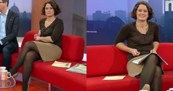 Badgers Babes: TV presenter in nylons