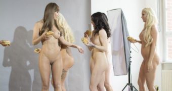 Djamila Rowe + Micaela Schäfer nude for Photoshooting