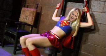 blonde celeb tomi lahren as supergirl helpless femdom bound tied