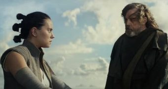 Rey looks scared. She should be. What will Luke do to her?