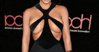 Kim Kardashian- Style Icon almost Topless in Boob Exposing Dress