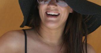 Caroline Flack, wearing Bikini Bottoms at the Beach in Miami