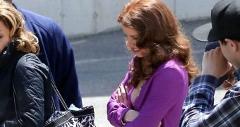 """Amy Adams in Low-Cut Dress, on the set of """"American Hustle"""""""