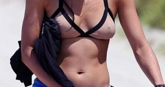 Michelle Rodriguez wearing Bikini on the Beach in Miami