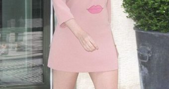 Kylie Minogue Leggy in Pink Dress, Out and About for Lunch