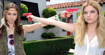 Ashley Benson and Troian Bellisario at GUESS Hotel Pool Party