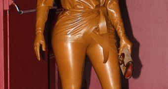 Kim Kardashian in skin tight latex