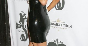 Paris Hilton in black latex outfit
