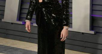 Miley Cyrus slinky black dress